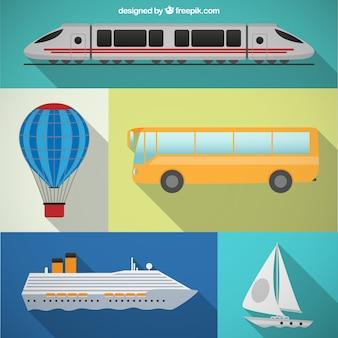 Paquete de transporte en diseño plano