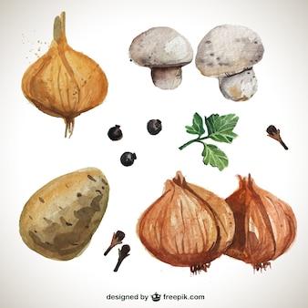 Paquete de verduras de acuarela