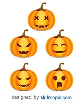 Paquete sobre halloween de pequeñas calabazas atemorizantes 1