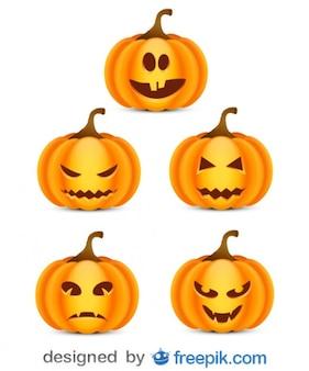 Paquete sobre halloween de pequeñas calabazas atemorizantes 3