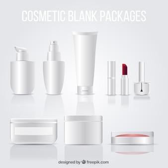 Paquetes en blanco de cosméticos