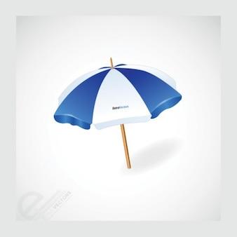 Paraguas rayado con mango de madera