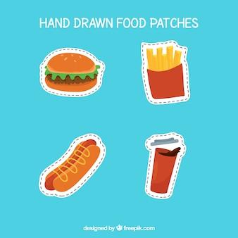 Parches de comida dibujados a mano