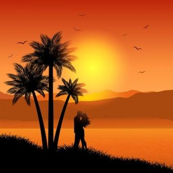 Pareja besándose en paisaje tropical