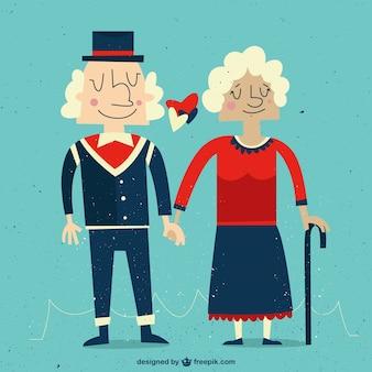 Pareja de abuelos enamorados
