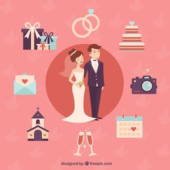 pareja de boda agradable con los elementos lindo