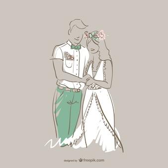 Pareja de boda vector