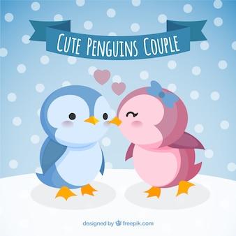 Pareja de bonitos pingüinos