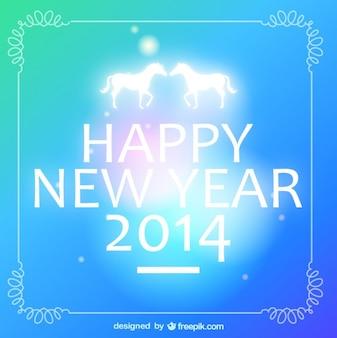 Pareja de caballos en saludo de feliz año nuevo 2014