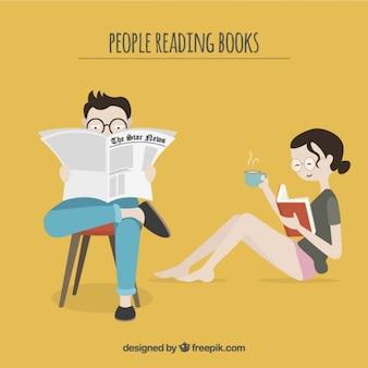 Pareja de leer un libro y el periódico