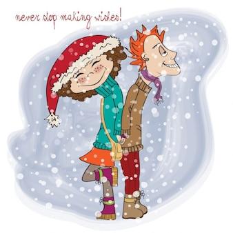 pareja divertida en invierno