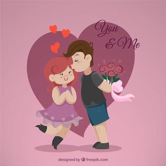Pareja joven ilustrada para el día de San Valentín