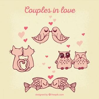 Parejas de animales enamorados