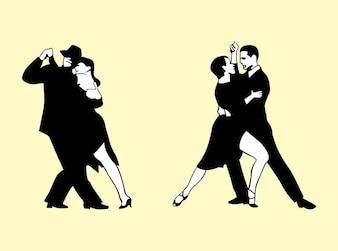 parejas en blanco y negro bailando