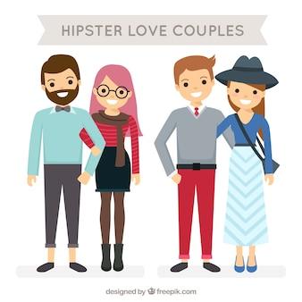 Parejas hipsters sonrientes en diseño plano