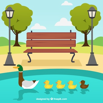 Parque con familia de patos en el lago