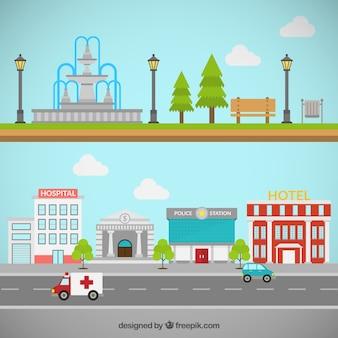 Parque de ciudad y edificios
