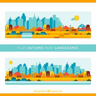 Parques con la ciudad de fondo