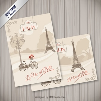 París tarjetas postales en estilo retro