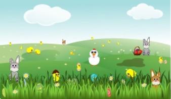 Pascua paisaje con flores conejitos pollitos de gallina huevos