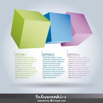 pasos de Infografía de colores con cubos