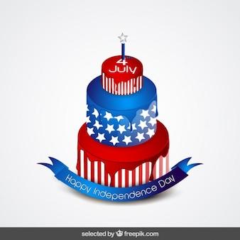 Pastel de día de la Independencia en colores azul y rojo