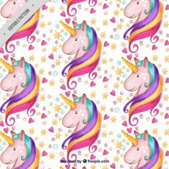 Patrón de adorable unicornio de acuarela con corazones y estrellas
