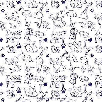 Patrón de animales dibujados a mano