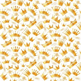 Patrón de coronas doradas