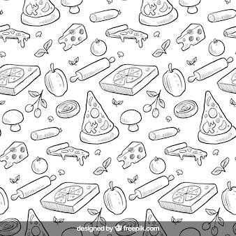Patrón de pizza dibujado a mano