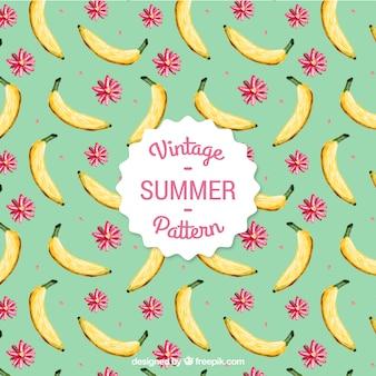 Patrón de plátano pintado a mano y flores en estilo vintage