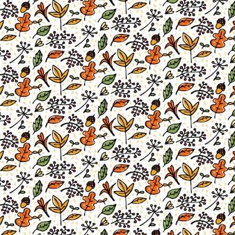 Patrón dibujado a mano de elementos de otoño