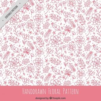 Patrón floral rosa dibujado a mano