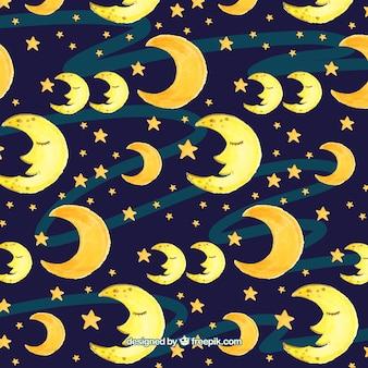 Patrñon de luna y estrellas de acuarela