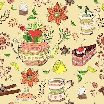Patrón a color de la hora del té
