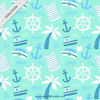 Patrón adorable marinero con elementos