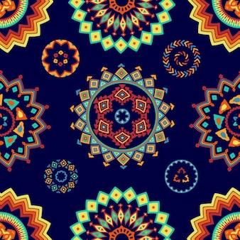 Patrón azul con formas decorativas