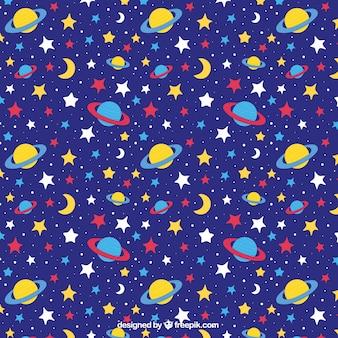 Patrón azul oscuro con estrellas y planetas