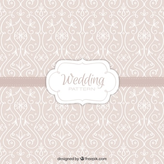 Patrón beige con decoración floral dibujada a mano para boda
