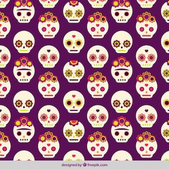 Patrón bonito con calaveras mexicanas decorativas