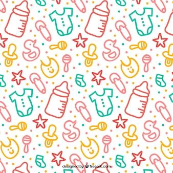 Patrón bonito con elementos de bebé coloridos dibujados a mano