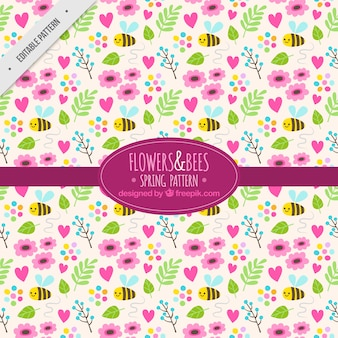 Patrón bonito con flores y abejas