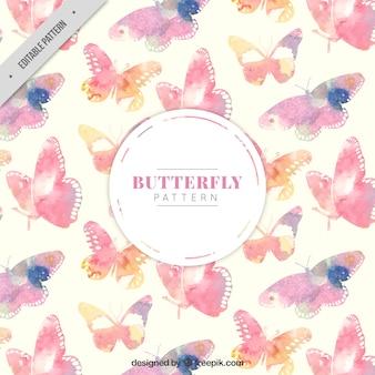 Patrón bonito de mariposas de acuarela