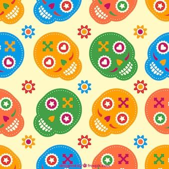 Patrón colorido de calaveras de azúcar