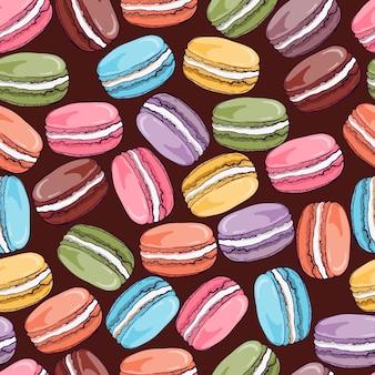 Patrón colorido de macarones