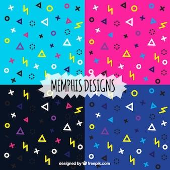 Patrón colorido moderno en estilo memphis