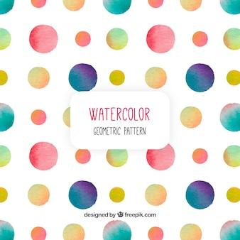 Patrón con círculos de colores de acuarela
