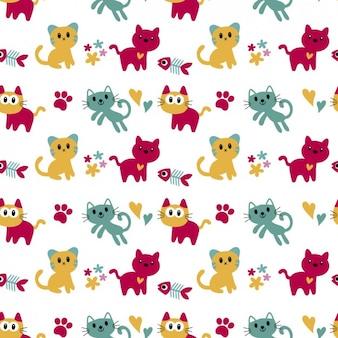 Patrón con gatos adorables
