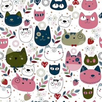 Patrón con lindas cabezas de gatos