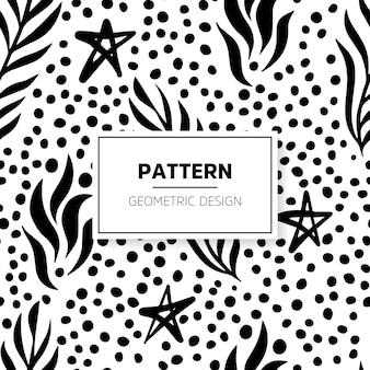 Patrón con puntos, hojas y estrellas